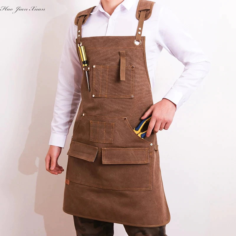 Durable Goods Heavy Duty Waxed Unisex Canvas Work Apron with Tool Pockets
